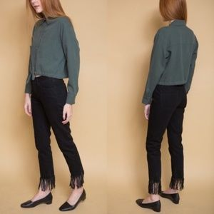 3×1 NYC High Rise Straight Cropped Fringe Jeans